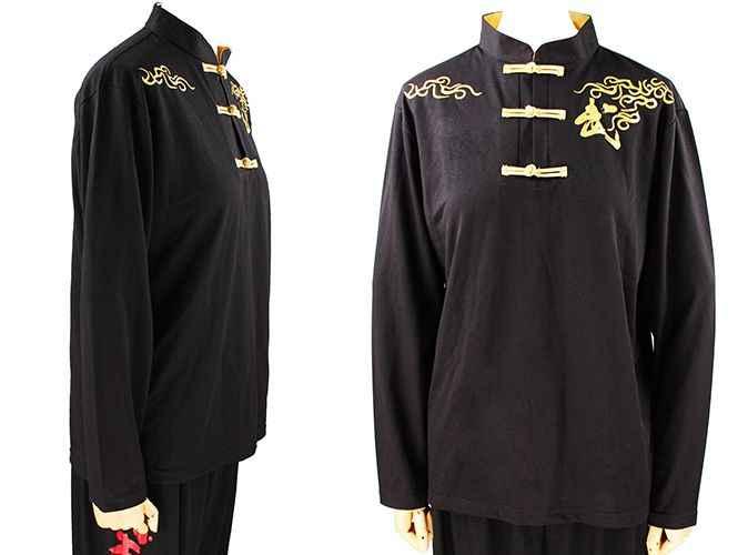 ユニセックス高-グレード綿春&秋武道武術制服カンフー太極拳tシャツスーツ赤/黒
