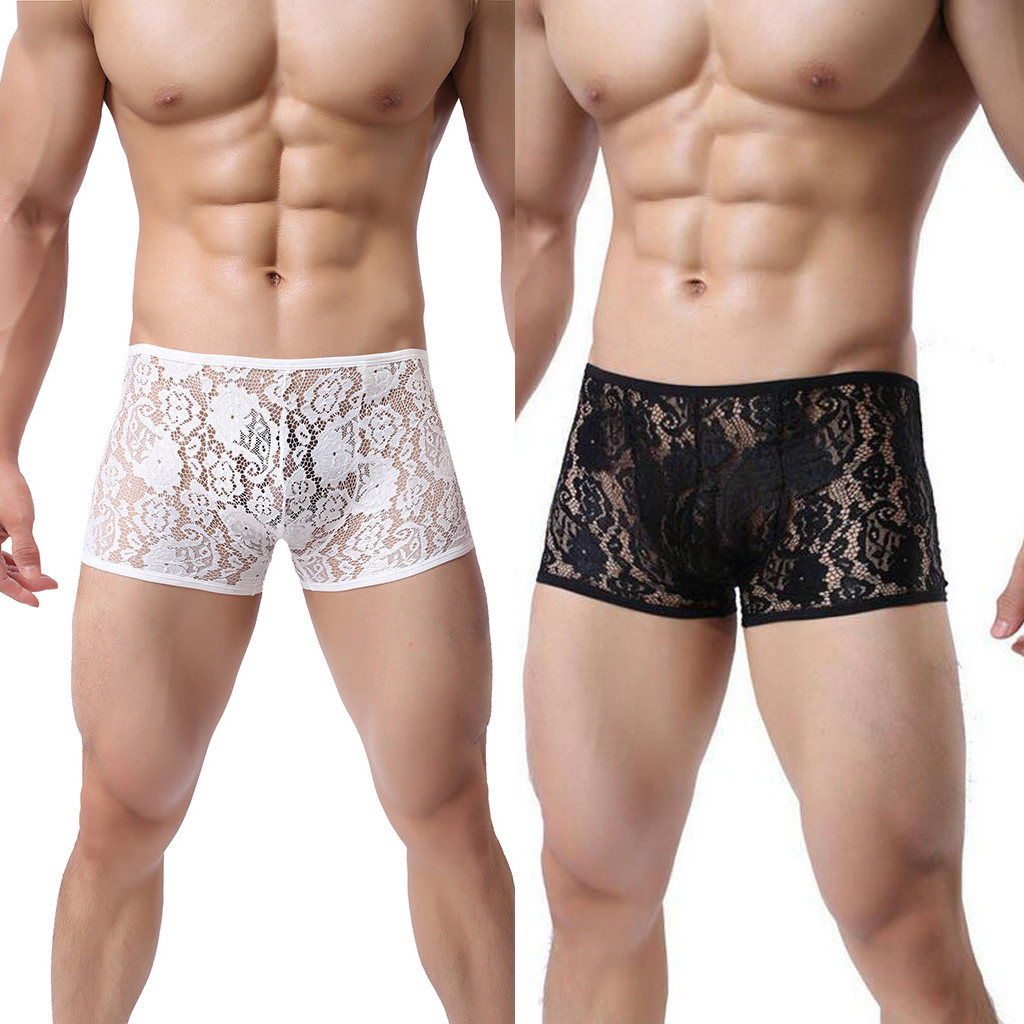 Men Underwear New Men's Short Pants Boxers Male Lace Underpants Sexy Panties Bodysuit Trunks