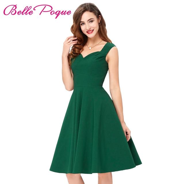 Vestido de verano 2018 verde mujer BIG SWING rockabilly vestidos sin mangas  V Masajeadores de cuello 8114821e4512