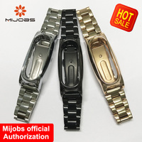Mijobs Wristband Strap For Xiaomi Mi Band 2 Metal Stainless Steel Wrist Strap Bracelet Smart Band Replace For Mi Band 2