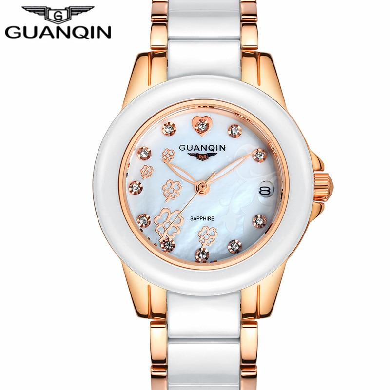 ФОТО Relogio Feminino GUANQIN Brand Fashion Women Clock Luxury Ceramic Quartz Watch Ladies Casual Waterproof Gold Bracelet Wristwatch