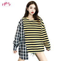 Harajuku Ulzzang Funny Women T Shirt Kpop Fashion Oversized Hip Hop Female Irregular Unique Tops Plaid Striped Korean Clothes