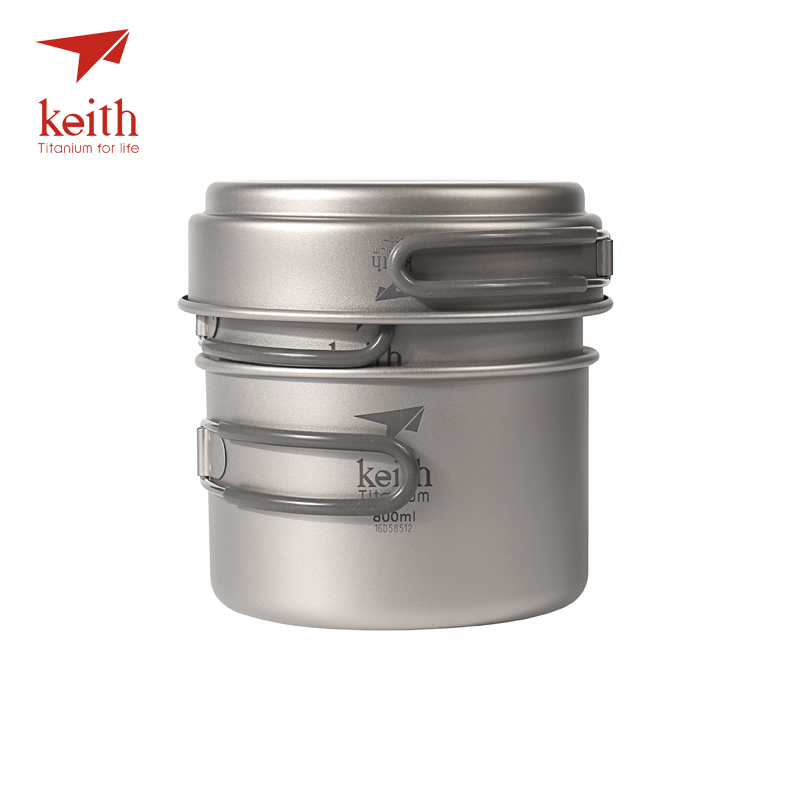 Keith Titanium Pots Pans Bowls With Folding Handle Cook Camping Hiking Picnic Cookware Utensils