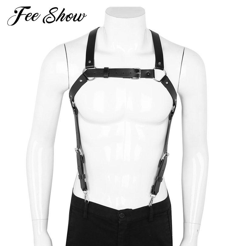 Gay Men Sexy Adjustable PU Leather X Back Body Chest Harness Suspenders Cosplay Clubwear Costumes With Buckles And Metal O-Rings