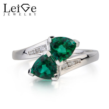 Leige Jewelry Proposal Ring Emerald Ring May Birthstone Trillion Cut Green Gems Genuine 925 Sterling Silver Ring Gifts for Her