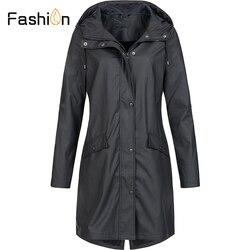 Plus rozmiar 5XL damska solidna kurtka przeciwdeszczowa z kapturem na zewnątrz wodoodporny długi płaszcz kobiety płaszcze przeciwdeszczowe długie piesze wycieczki kurtki z kapturem 2019 2