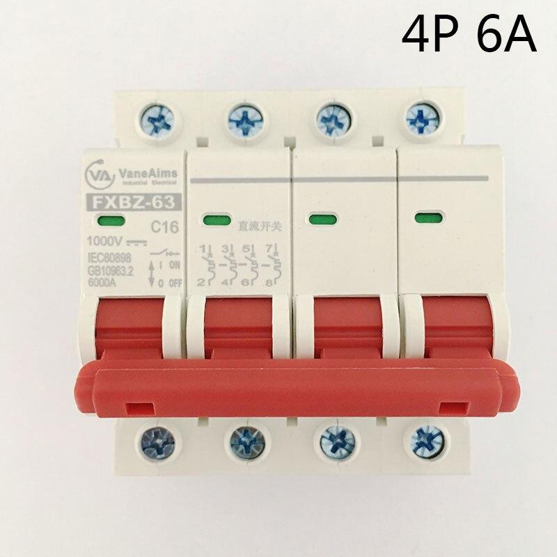 4P 6A DC 1000V Solor Circuit breaker MCB 4 Poles C63 FXBZ-63 new 30653 circuit breaker compact ns160n tmd 80 a 4 poles 4d