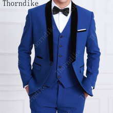 5b9f35139a Popular Royal Blue Men Suits 2019 Hot Sell Special Design Black Shawl Lapel  Best Men Wedding / Dinner Party Wear tuxedos 3 Pcs