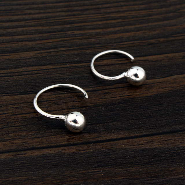 1pair Minimalist Round Ball Hugging Earring For Women Man Chic Silver Hug Hoop Tiny