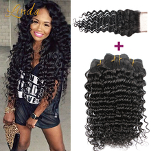 Brazilian Deep Wave Curly 3/4 bundles With Closure Brazilian Virgin Human Hair Weave With Closure Bundles Queen Hair Products