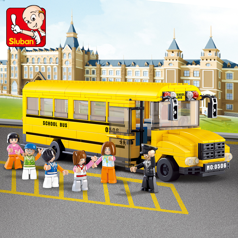 Sluban Building Block City Town Mini 218pcs & Large 392pcs School Bus Educational Bricks Toy Boy Gift - No Retail Box