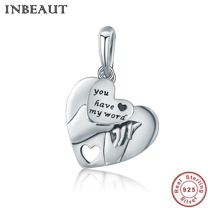 INBEAUT 925 Sterling Silver LOVE Heart Pendant for Chain Necklace Women You Are My Word Hand By Hand Charm fit Pandora Bracelet