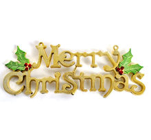 Christmas decorations for home 20cm Christmas Tree Decoration Shiny Merry Letter Card for Xmas Hanging Ornament 0.482(China)