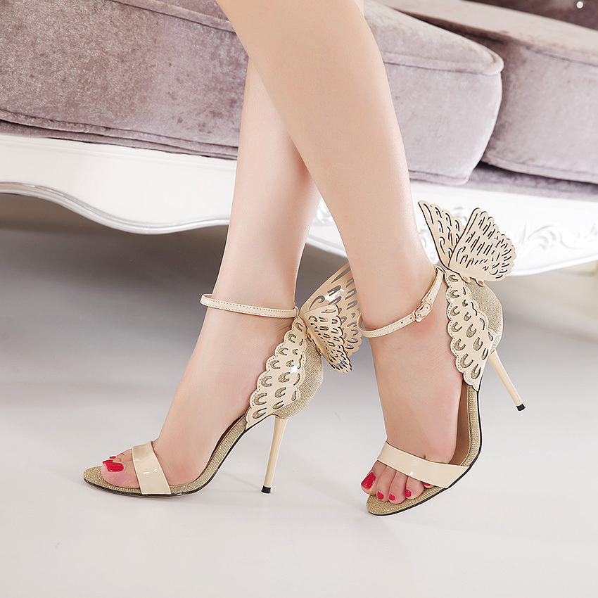 8b5872141f31 Europe America Style Women Summer Thin High Heel Bowknot Peep Toe Butterfly  Wings Feather Sandals Shoes Size 35 40 SXQ0609-in High Heels from Shoes on  ...