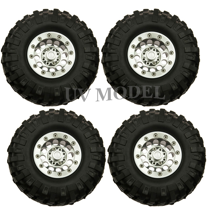 1:10 Scale RC Crawler 96mm Tire Set With 1.9inch Beadlock Wheels Rims for RC4WD SCX10 CC01 #7