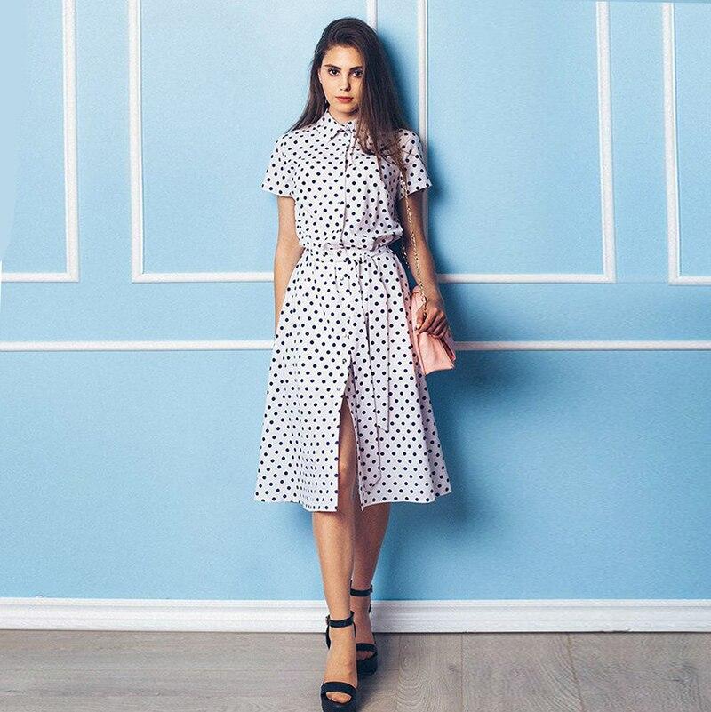 2018 Dot Women Dress Turn-down Collar Knee-Length Short Sleeve Belted Casual Women Dress ...