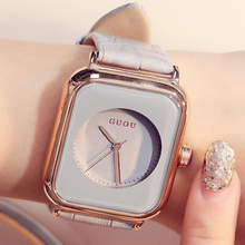 GUOU Top Marque relogio De Luxe reloj mujer Dames Femmes de Bracelet Montres Femmes Or Montre saat Véritable En Cuir Femelle Horloge