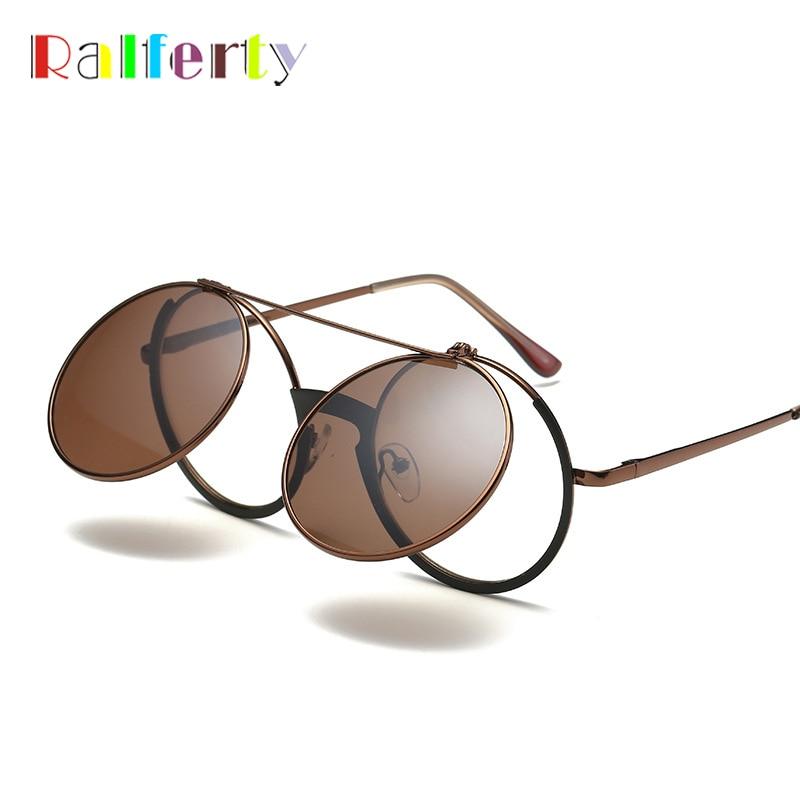 Ralferty Vintage Round Sunglasses Women Men Flip Up Eyeglasses Steampunk Brown Sun Glasses Retro Eyewear Circle Oculos F5827