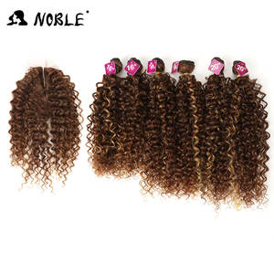 Noble Kinky Curly Hair-Bundles Closure Weave Synthetic-Hair Afro with for Black-Women