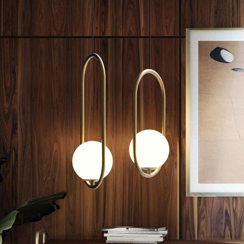 American Glass Ball Bar Cafe LED Pendant Light Nordic Post Modern Bedroom Decor Hanging Lamp Restaurant Indoor Lighting Fixtures цена