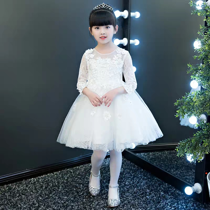 Kids Girls Princess Appliques Flowers Party White Color Tutu Dress Korean Sweet Children Cute Girls Birthday Wedding Prom Dress 2018 new korean sweet autumn summer children baby birthday wedding party prom dress kids girls pink color flowers pageant dress