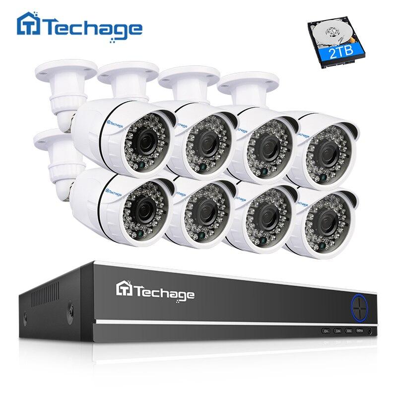 Techage 16CH HDMI 1080N цифровой видеорегистратор, система CCTV 8 шт 2.0MP 1080 P Инфракрасный наружный водонепроницаемый охранная AHD Камера P2P комплект видео...