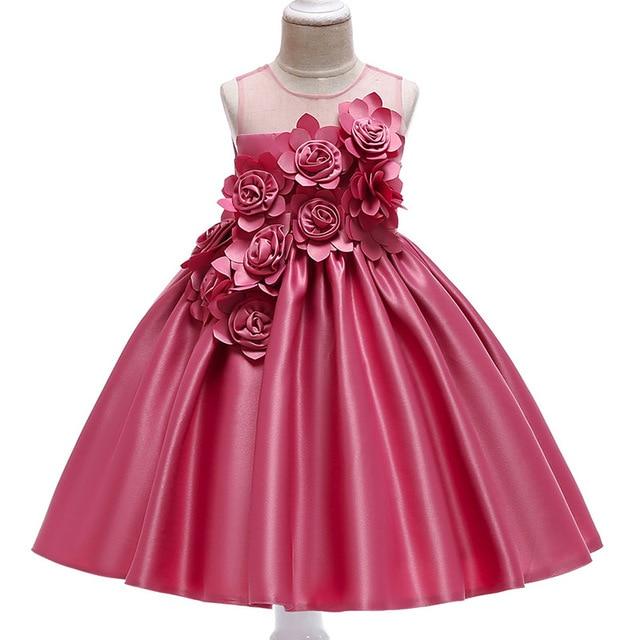 Vestidos de fiesta de princesa para niñas, pétalos de rosa, ropa de cumpleaños para niños y niñas, ropa para niños, disfraz de bebé L5068