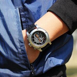 Image 5 - Relogio masculino SINOBI nowy mężczyzna chronografu zegarki na rękę kalendarz wodoodporne sportowe skórzane męska genewa wojskowy zegar kwarcowy