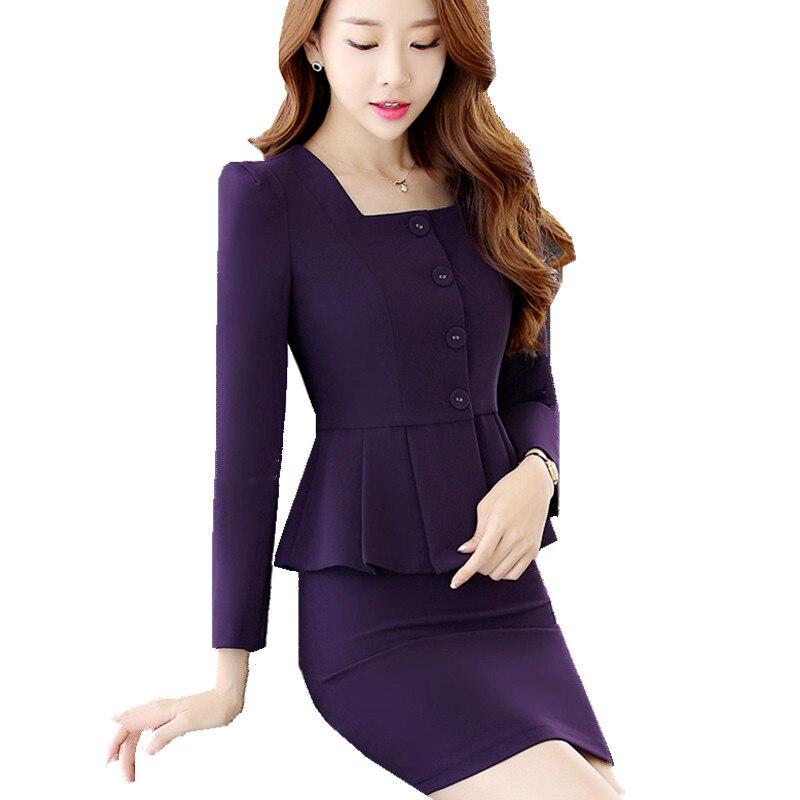 Office Skirt Suit Woman Suit Ladies 2 Pieces Blazer Jacket Skirt Tailleur Jupe Femme Career Business