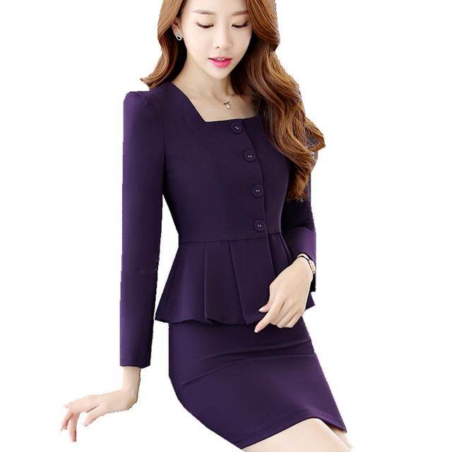 16bcff6a2644 Fmasuth Formal Skirt Suit Woman Suit Ladies Office 2 Pieces Tailleur Jupe  Femme Career Business Suit ow0415