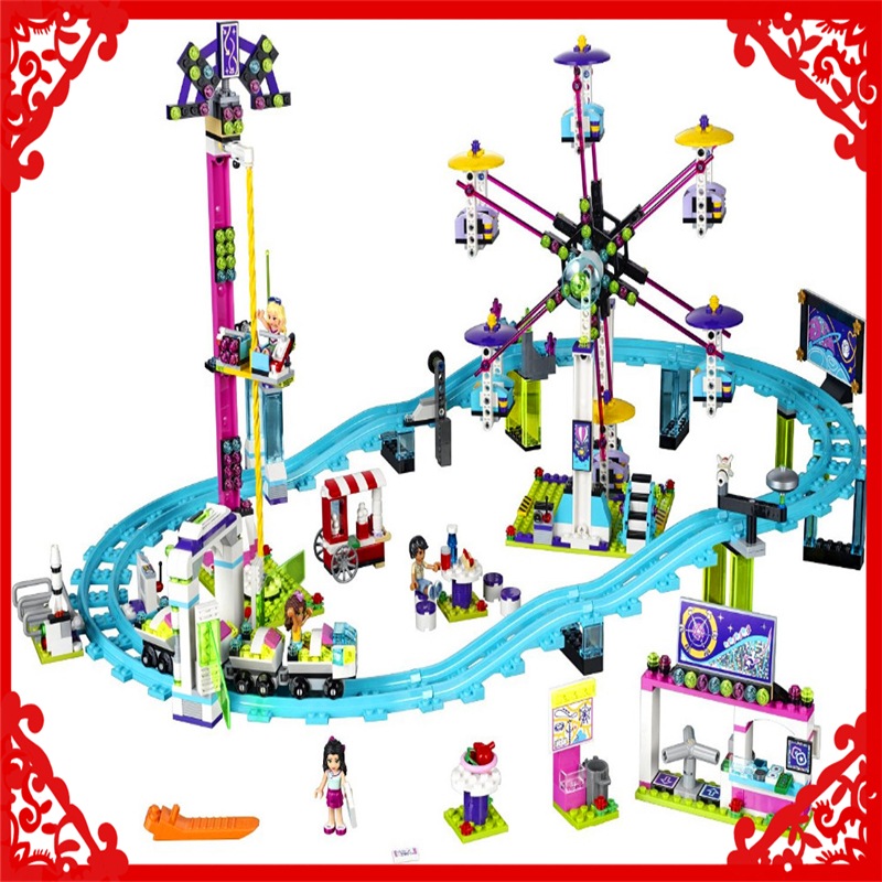 LEPIN 01008 Friends Amusement Park Roller Coaster 1124Pcs Building Block DIY Educational  Toys For Children Compatible Legoe new spacerail new level 2 232 3 5600mm time machine diy spacewarp erector set model building kit roller coaster educational toys