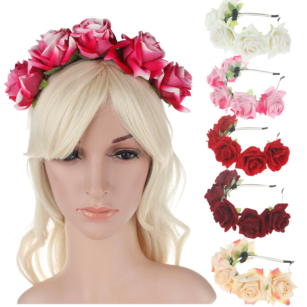 Fashion Bride Women Rose Flower Crown Hairband Wedding Headdress Headband for women Girl Photographic decoration Hair Accessorie xinyun wedding flower crown white veil decorated bride headdress weddings hair accessories super soft hand feel hair ornaments