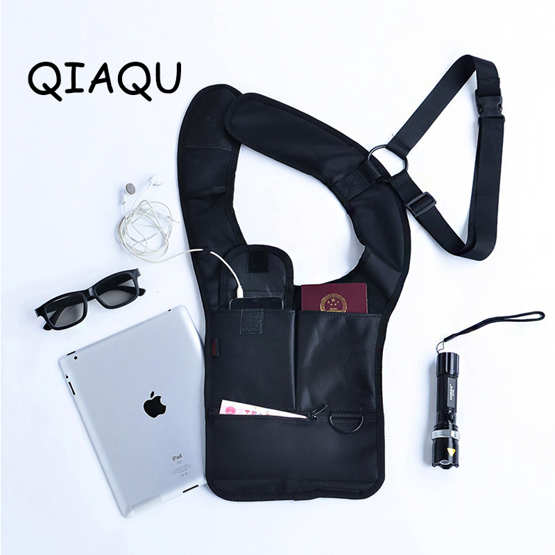 QIAQU Armpit Strap Hidden Shoulder Bag Anti-Theft Multi Pockets Adjustable Security Holster Travel Secret Service Agent Backpack