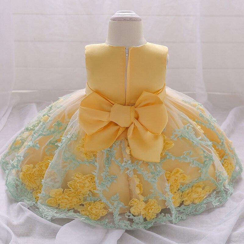 2018 vintage Baby Girl Dress Chrzest Sukienki dla dziewczynek 1 rok - Odzież dla niemowląt - Zdjęcie 5