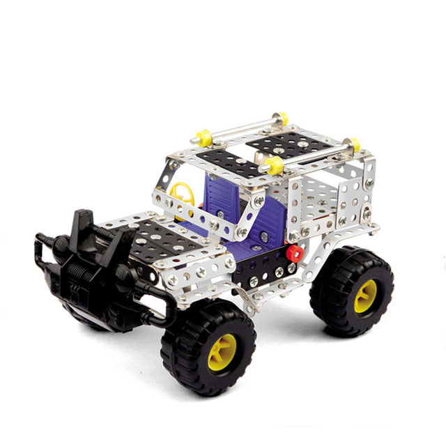 military action kids building block set diy cross country car creative metal building kit toy
