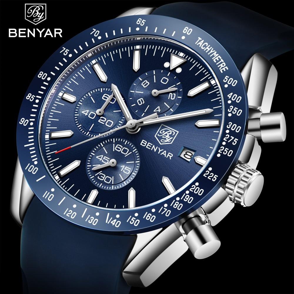 BENYAR Men Fashion Quartz Sports Watch Casual Luxury Brand Chronograph Wristwatch Silicone Waterproof Business Relogio Masculino