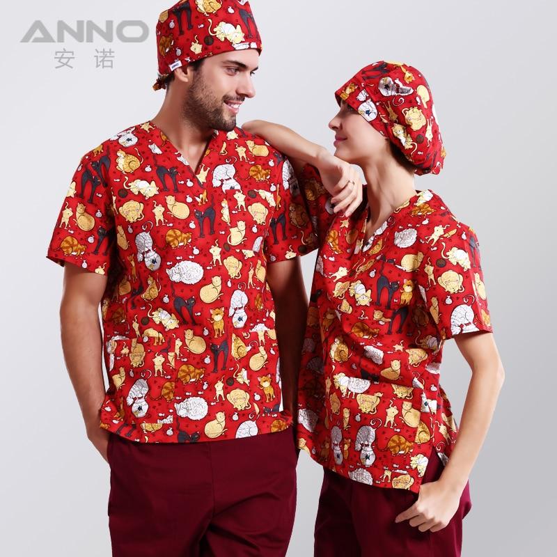 Jauni ierašanās drukāti medicīnas apģērbi Red Naughty kaķu - Jaunums