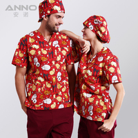 New Arrival Printed Medical Clothings For Red Naughty Cat Fabric With Comfortable And Breathable Medical Uniform