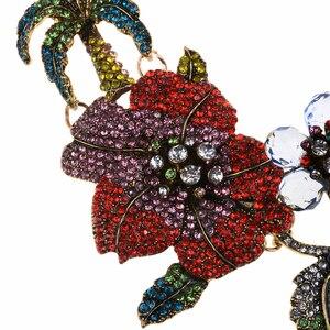 Image 4 - الملونة كريستال حجر الراين الزهور فلامنغو المختنق قلادة للنساء بيان كبير طوق قلادة مجوهرات الإناث