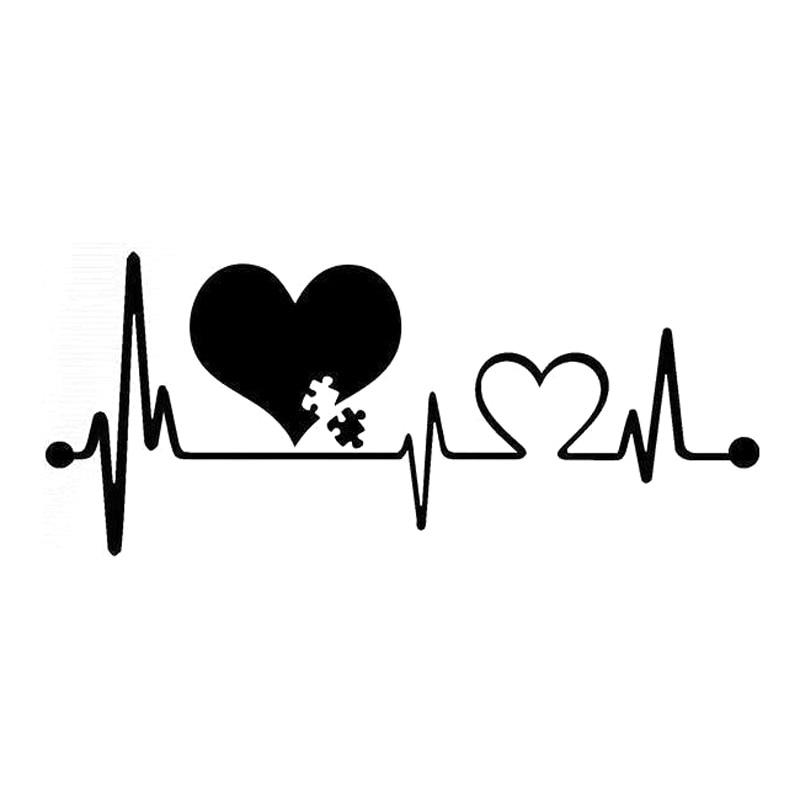 16.6cm*7.2cm Autism Heartbeat Lifeline Creative Car Styling Car Sticker Black/Silver S3-4936 car