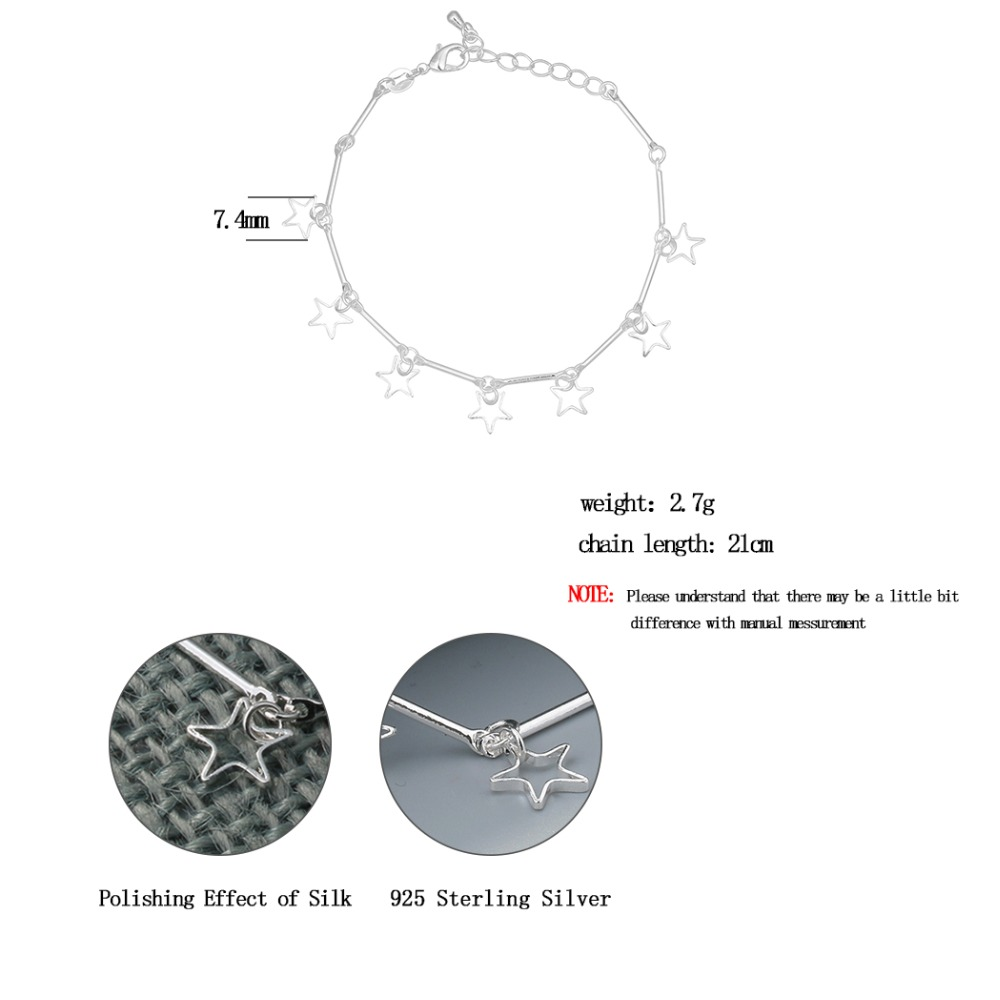 Todorova Real 925 Sterling Silver Bracelets Fine Jewelry for Women Girls Gift Stars Pendant 2017 New High Quality Black Friday