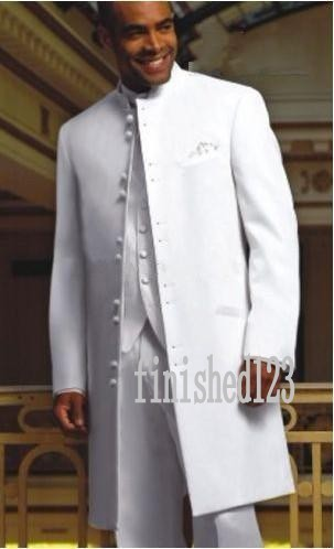 Fashionable Long White Groom Tuxedos Groomsmen Men's Wedding Prom Suits Custom Made (Jacket+Pants+Vest+Tie) K:85