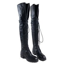 2019 New Plus  Fashion Sexy Thigh High boots zip flat Boots Female Lady Women Genuine leather almost buttocks