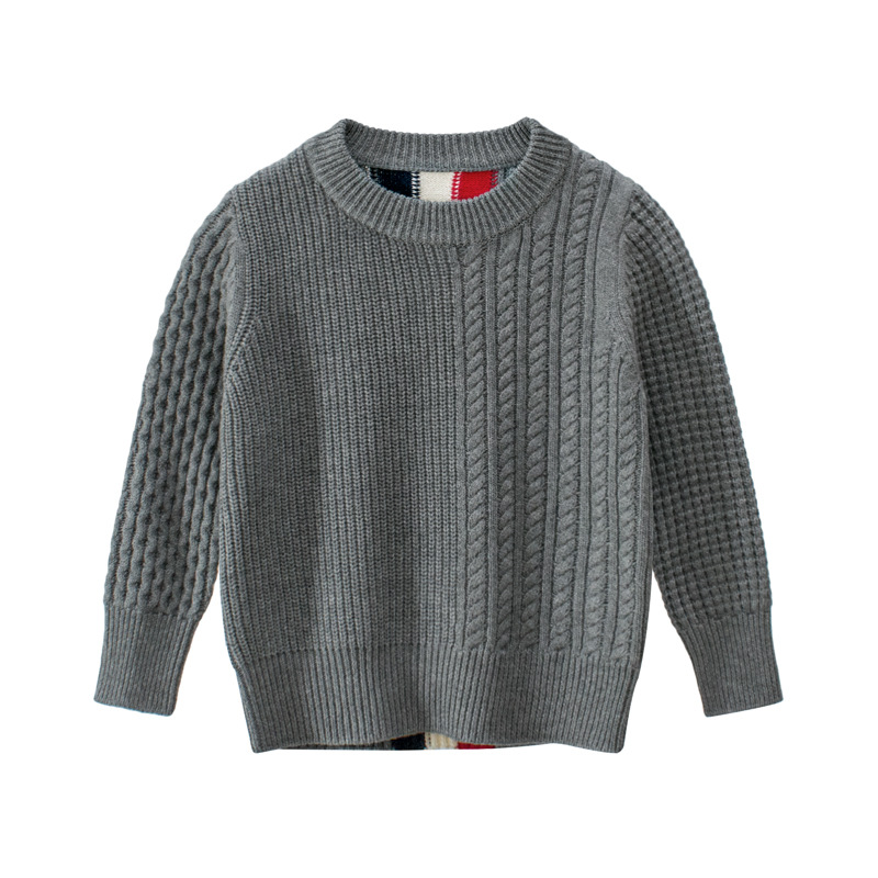 Image 3 - kids Casual Sweaters Autumn Winter 2019 Boys and Girls Pullover Knitted Striped Sweater Children Long Sleeve Gray Navy Blue Tops-in Sweaters from Mother & Kids