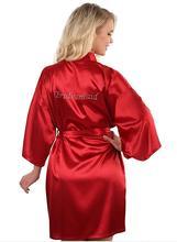 Модные шелковые невесты халат сексуальный Для женщин короткие свадебные кимоно халаты пижамы Ночная рубашка платье женщина халат пижамы