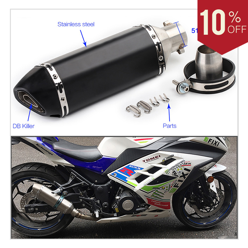 Universal Motorcycle Exhaust Pipe Stainless steel With Akrapovic Escape DB killer exhaust For Yamaha CB400 R6 kawasaki Slip-on