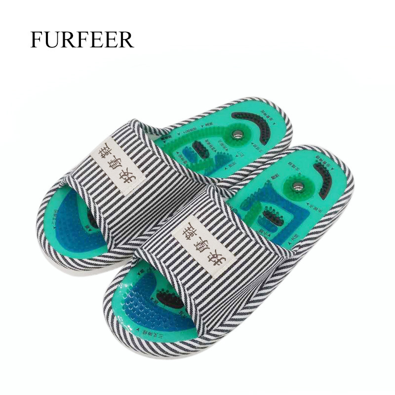 Men's Blue Striped Magnets Massage Slippers Men's Health Care Taichi Foot Acupuncture Massage Slippers Male Foot Massage Shoes