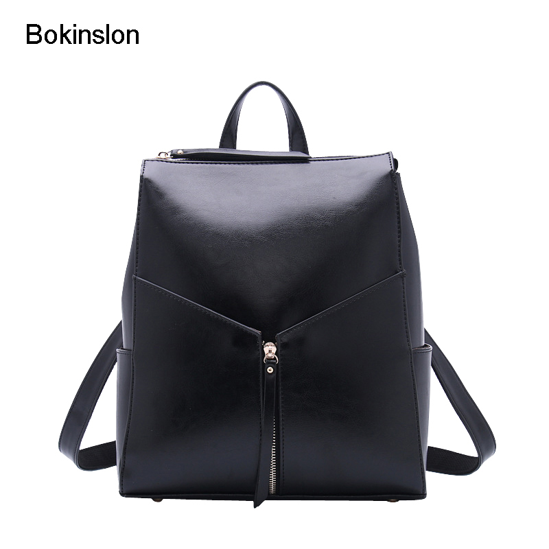 где купить Bokinslon Woman Bags Backpack Split Leather Fashion Women Backpacks Solid Color Popular Ladies Leather Backpack по лучшей цене