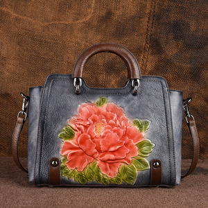 Image 3 - Johnature 2020 New Retro Cowhide Embossed Large Capacity Women Handbag Genuine Leather Floral Casual Shoulder&Crossbody Bags