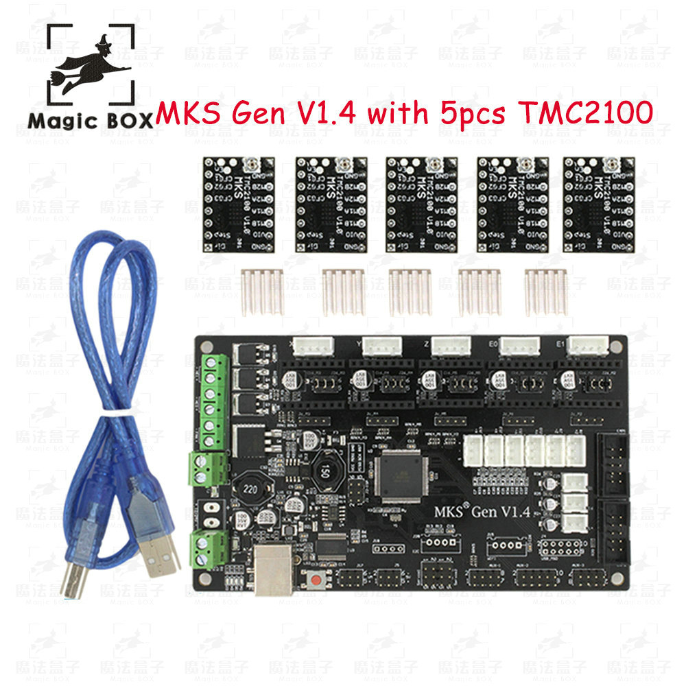 Latest 3D printer MKS Gen V1.4 control board Mega 2560 R3 motherboard RepRap Ramps1.4 compatible, with USB+ 5PCS TMC2100 Driver mks gen v1 4 control board mega 2560 r3 motherboard reprap ramps1 4 compatible with usb and 5pcs a4988 for 3d printer